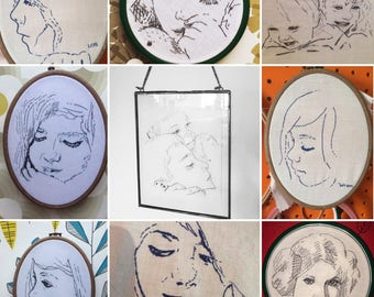 "6"" CUSTOM PORTRAIT -Thread Sketch, hand embroidery line drawing. Gift. Keepsake."