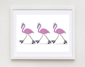 Rollerblading Flamingos - Unframed Art Print, Flamingo Drawing, Nursery Picture, Animal Wall Art, Children's Decor, Kid's Bedroom.