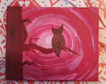 Owl Moon Bathing in Tree Painting