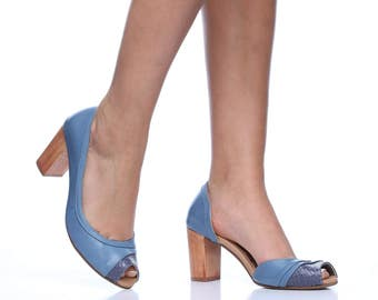 Blue Seychelle Leather Pumps, Handmade High Heel Shoes, Comfortable High Heels, Wedding Shoes