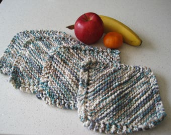 Teal and Grey Knit Dishcloths, Set of 4