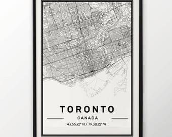 Toronto City Map Print, Modern Contemporary poster in sizes 50x70 fit for Ikea frame All city available London, New york Paris Madrid Rome