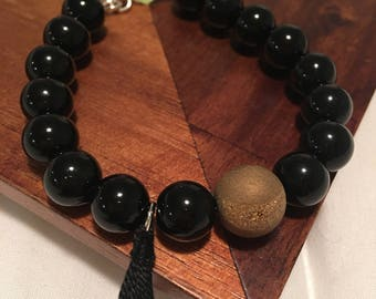 Handmade Black Beaded Bracelet