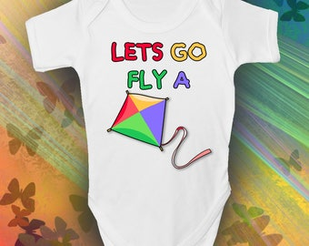 Lets Go Fly A Kite Baby Grow - Cool Retro Baby Romper - Grandma