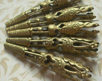 Antique Brass Bead Cap, Filigree Cone, 12