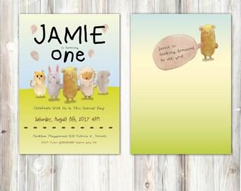 Folk tale, Forest Animal Birthday Invitation - Sheep, Rabbit, Bear, Elephant, Cat- Balloon-Grass-with back optional - Watercolor-Printable