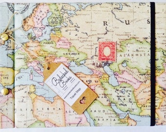 Travel Map Journal and Photo Album B5 Binding Screw