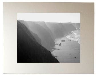 Big Sur Cliffs, California Coastline Black and White Photography Wall Art Print, Matted to 11x14