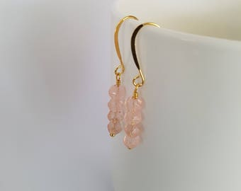 Light pink, glass beads, wire wrapped, gold plated drop  earrings.