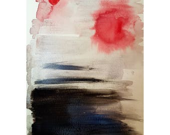 Original abstract painting art artist acrylic watercolour A5 red black
