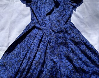 Blue and black patterned silk vintage Brooks Brothers dress