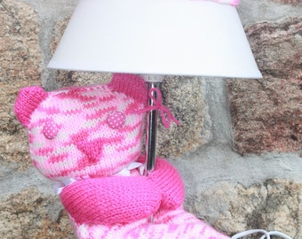 """Lamp with Pooh knitted hand """"Lina"""""""