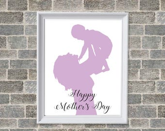 Mother and Child Print, Happy Mothers's Day Wall Print, Silhouette of Mom and Child, Typography Mother's Day Wall Decor - Instant Print
