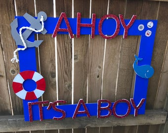 Nautical Photo Booth - Baby Shower -Ahoy Its A Boy - Baby Boy