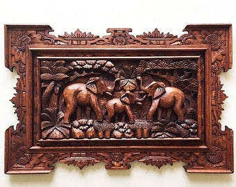 Balinese Wood Carving - 3 Joyful Elephants