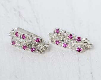 Ruby earrings, Women earrings, Geometric earrings, Dainty earrings, Modern earrings, Ruby jewelry, July birthstone, Rose stone earrings