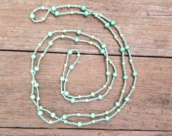 Long Beaded Necklace - Green
