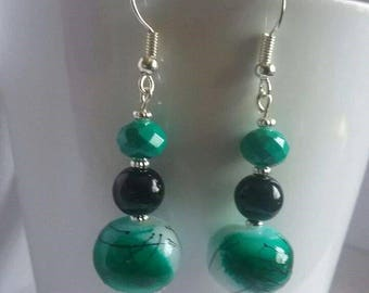 Green earrings, black, dangle earrings,