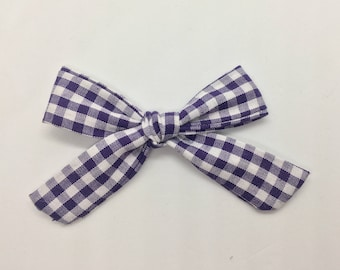 Dark Purple Gingham Mini Bow