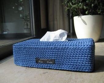 handy blue crochet sleeve cover for tissuesbox