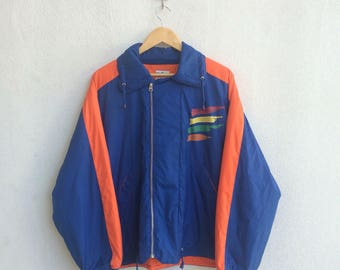 Vintage 90's Benneton Zipper Jacket Big Logo Multicolor