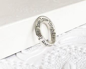 Ring Charm, Sterling Silver, Love Charm, 925 Sterling Silver, 18mm, SS038