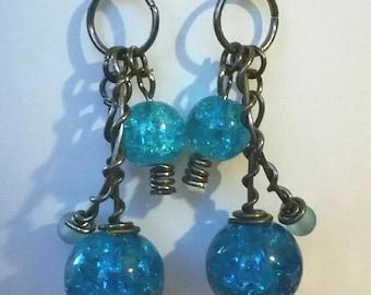 glass beads, blue, earring, pair of earrings
