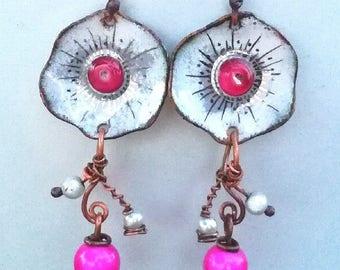 earrings, pair of earrings, bohemia, flower