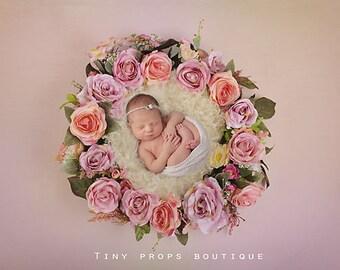 Digital background for newborns - Pink Flowers Wreath