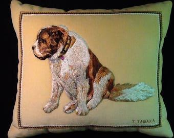 A hand-embroidered pillow of dog portrait - St. Bernard