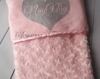 Personalized babyblanket with name minky fleece soft rosebud