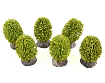 "Set of 6 Green Bushes - 2.25""  x 1.5"" x 1.5"" - Miniature Fairy Garden Dollhouse"