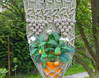 Macrame wall hanging -  Plant Holder - Linen - Flax- Natural cord plant holder