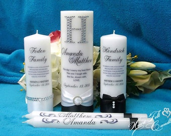 Monogram Wedding Attire Unity Candle Set - Unique Unity Candles - Family Candles - Personalized Candles