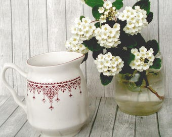 Vintage Creamer porcelain USSR 80s ceramics ethnic ornament retro souvenir white tea set Soviet porcelain serving tea gift jug milk