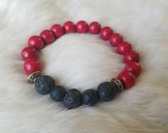 Central Black Lava Stone and Red Howlite Bracelet