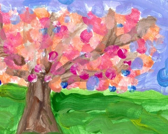 Country Peach Blossom Orchard - Print from Original Watercolor Painting by Matthew T. Rogers