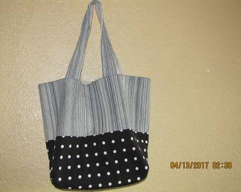 Stripped Gray tote