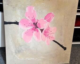 Cherry blossom acrylic art painting 60x60cm canvas flower flowers nature