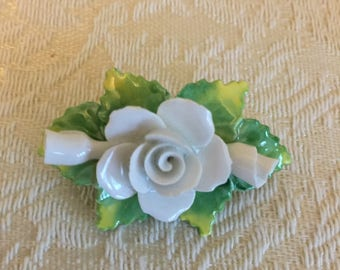 Artone Bone China Pin Brooch White Flower Handmade in England