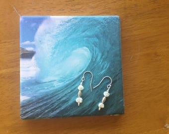 Freshwater Rice Pearls, Sterling Silver, Drop Earrings