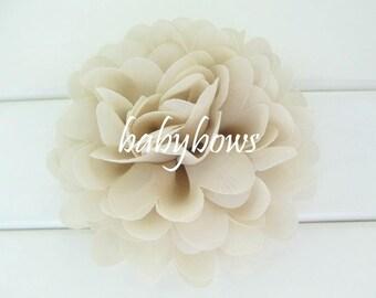 2 Beige Big Flower Baby Girl Flower Hair Clips 1 Pair