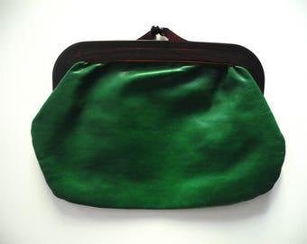 Vintage clutch bag - intense green faux leather