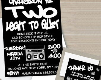 Two Legit to Quit Birthday Invitation, Hip Hop Birthday Party, Printable Invitation, *Digital File*