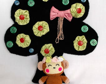 Monkichi monkey flower headband amigurumi PATTERN- Monkey crochet doll PATTERN - monkey amigurumi PATTERN