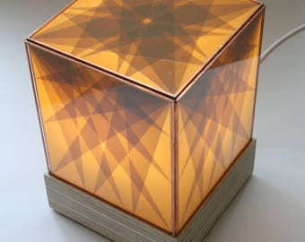 Geo lamp. Geometrical parcel tape glass lamp. Beautifully hand crafted, original, lined with copper foil on a plywood base.