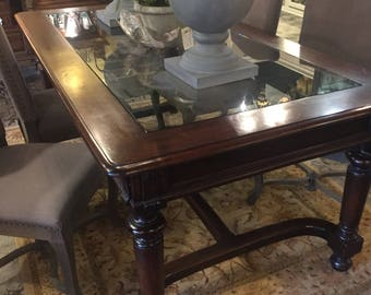 Beautiful high end desk/dining table with glass insert in top