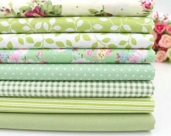 8pcs/lot 40cm*50cm Green Cotton Fabric for Sewing Patchwork Quilting Doll Cloth Handmade Needlework