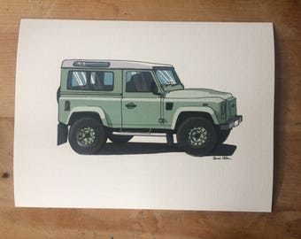 Landrover Defender 90 Heritage Illustration Print