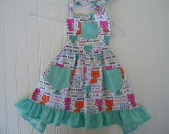 Little girl's apron, children's apron, cooking apron for girls